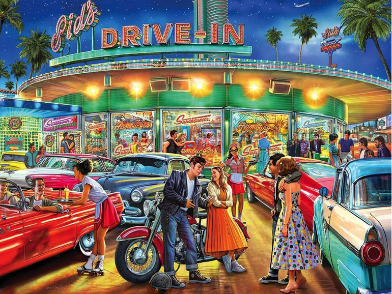Holdson 1000 piece jigsaw puzzle American Drive In at www.puzzlesnz.co.nz