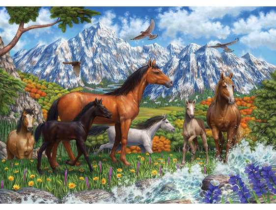 Holdson 1000 piece puzzle Spring Horses buy at www.puzzlesnz.co.nz