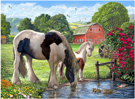 Holdson 300 XL Piece Jigsaw Puzzle: Hadlow Mare & Foal