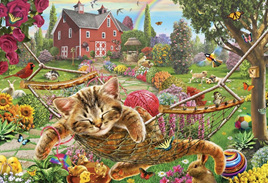 Holdson's 300XL Piece Jigsaw Puzzle: Cat On The Farm