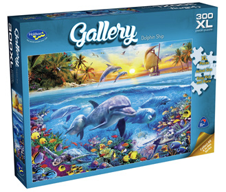 Holdson's 300XL Piece Jigsaw Puzzle: Dolphin Ship