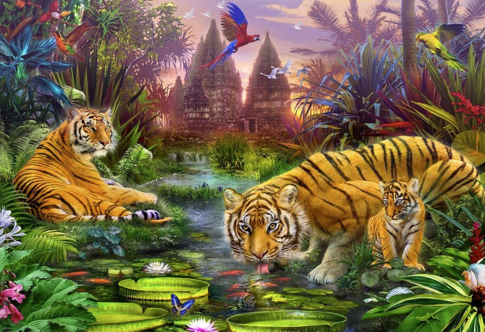 Holdson's 300XL Piece Jigsaw Puzzle: Tigers At The Ancient Stream