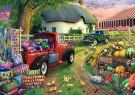 Holdson's 500XL Piece Jigsaw Puzzle:  Pickups & Produce - Farmhouse Market