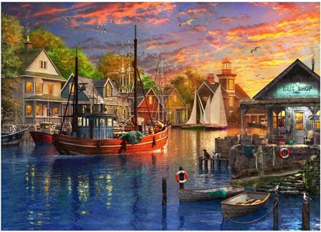 Holdson's 1000 Piece Jigsaw Puzzle: Safe Harbour - Harbour Sunset