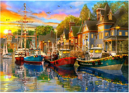 Holdson's 1000 Piece Jigsaw Puzzle: Safe Harbour - Lights On The Harbour