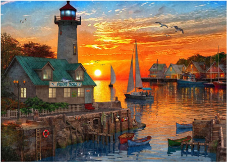 Holdson's 1000 Piece Jigsaw Puzzle: Safe Harbour - Setting Sail Sunset