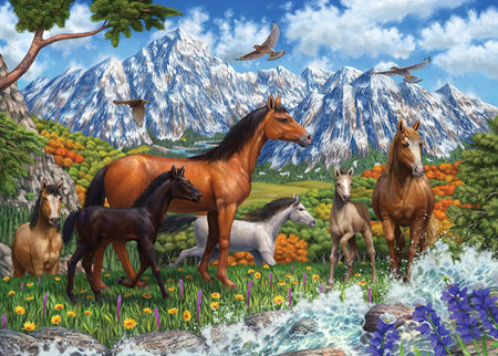 Holdson's 1000 Piece Jigsaw Puzzle:  Spring Horses