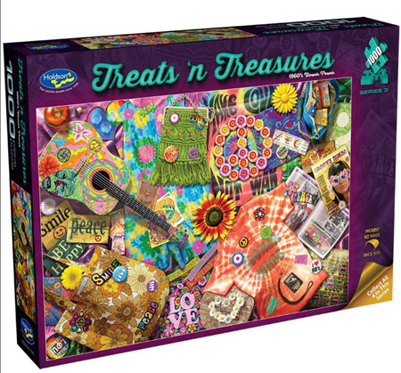 Holdson's 1000 Piece Jigsaw Puzzle:  Treats'n Treasures - 1960's Flower Power