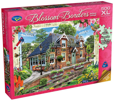 Holdson's 500XL Piece Jigsaw Puzzle: Blossom Borders - Railway Cottage