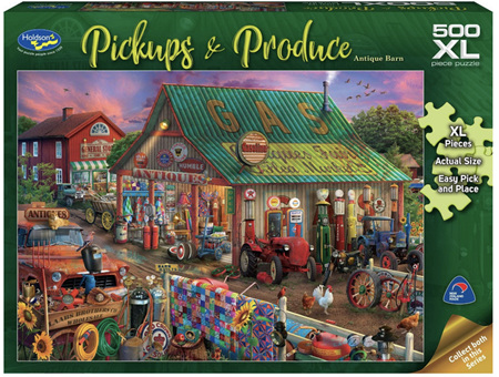 Holdson's 500XL Piece Jigsaw Puzzle: Pickups & Produce - Antique barn