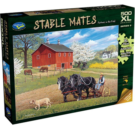 Holdson's 500XL Piece Jigsaw Puzzle: Stable Mates - Partners In The Field