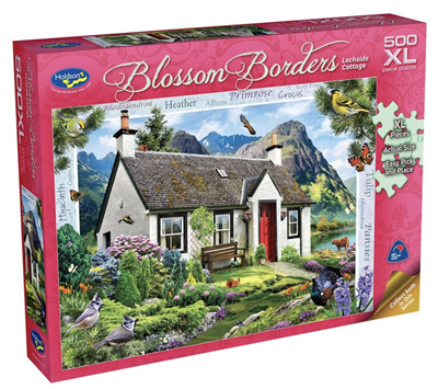 Holdson's 500XL Piece Jigsaw Puzzle: Blossom Borders - Lochside Cottage