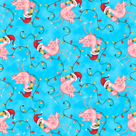 Holiday Beach Flamingos with Lights 958875