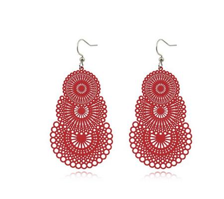 Hollow Paper Cut Water Droplet Earrings - Red