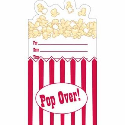 Hollywood Reel Pop Up Popcorn Invitation x 8