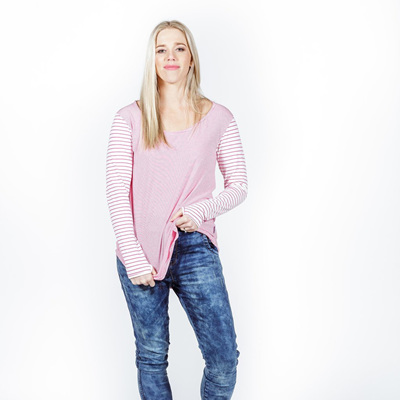 Home Lee - Long Sleeve Tee pink white stripe