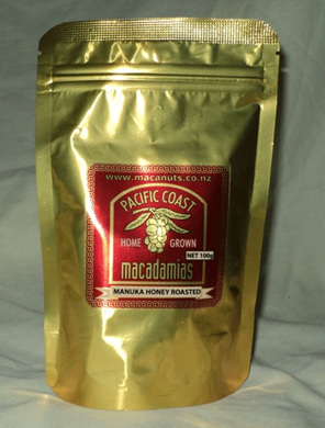 honey coated  macadamia nuts roasted 100g foil pack