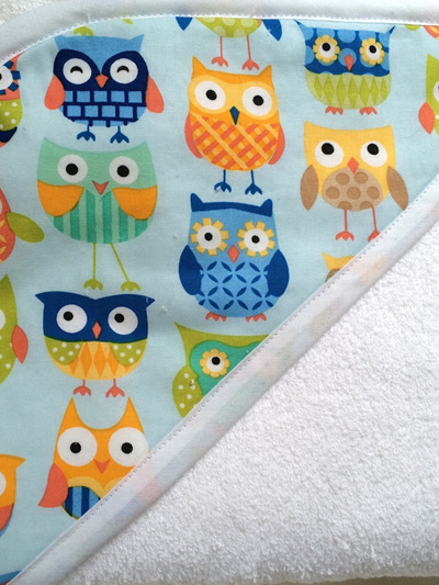 Hooded Towel - Blue Owls