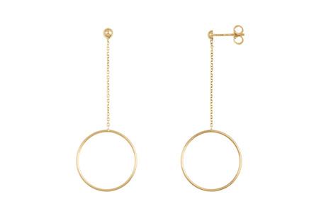Hoop and Chain Drop Stud Earrings