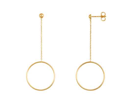 Hoop and Chain Drop Stud Earrings