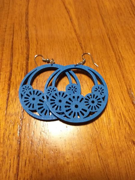 """""""HOPE"""" Wooden Earrings - Blue"""