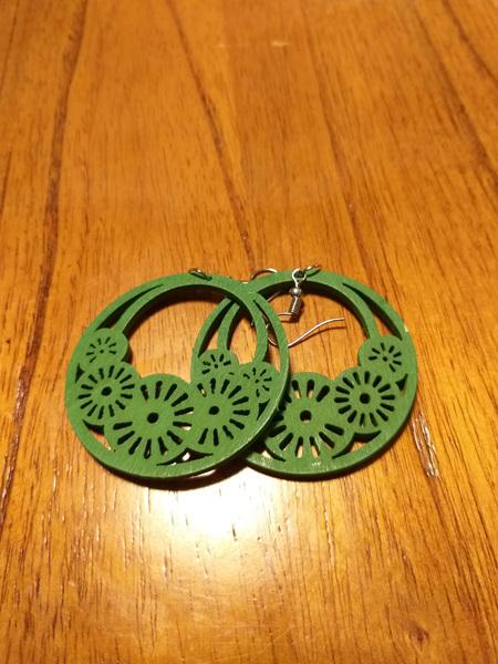 """""""HOPE"""" Wooden Earrings - Green"""