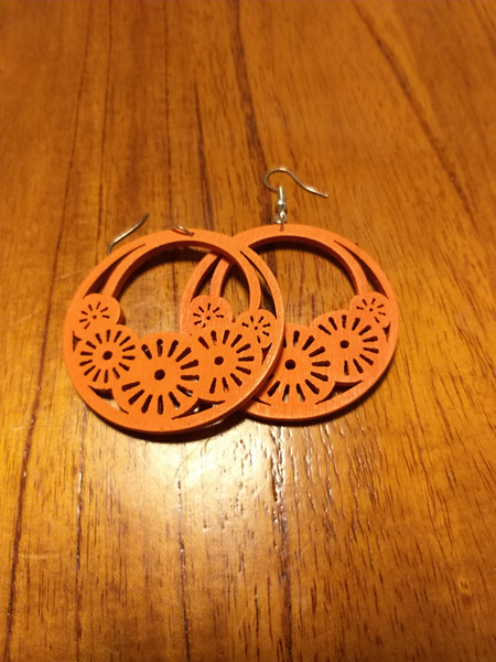 """HOPE"" Wooden Earrings - Orange"