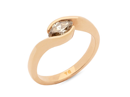 Horizontal Cognac Marquise Crossover Solitaire