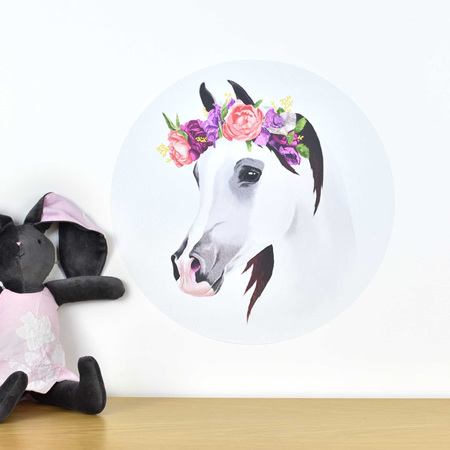 Horse wall decal with flower crown