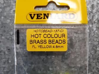 Hot Colour Brass Beads 4.8mm - Fl Yellow