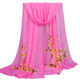 HOT PINK CHIFFON SCARF WITH ROSES