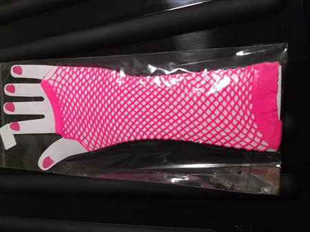 HOT PINK NETTING GLOVES