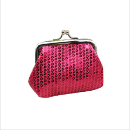 HOT PINK SEQUINED COIN PURSE