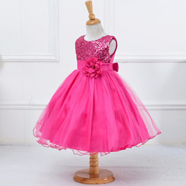 Hot Pink  Sequined Party Dress - Size 4