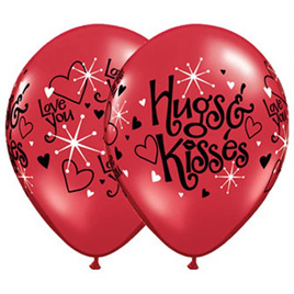 Hugs & kisses latex balloon x 1