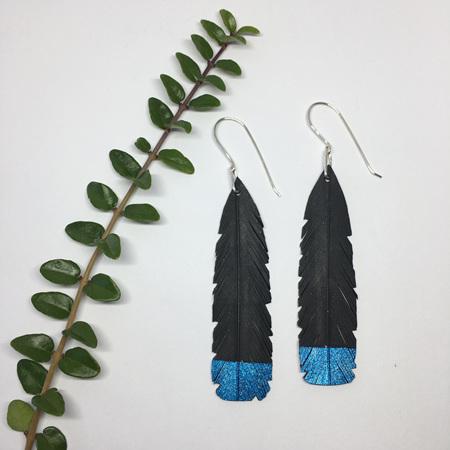 Huia Earrings with Blue