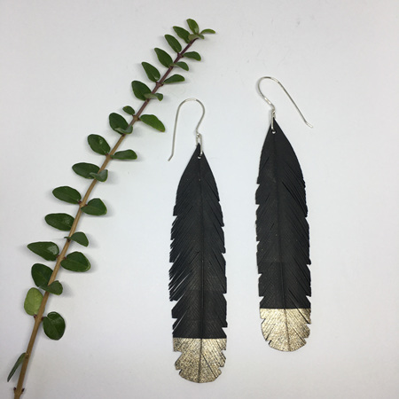 Huia Earrings with Gold