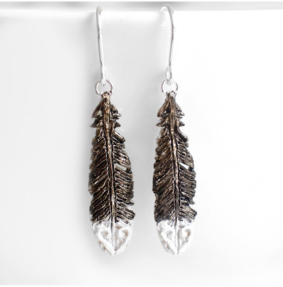 huia feather black white sterling silver bird native earrings