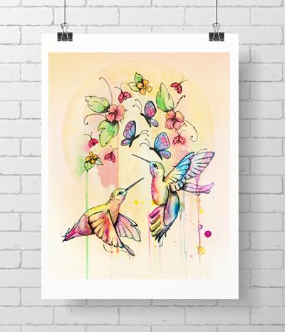 hummingbird - sunset