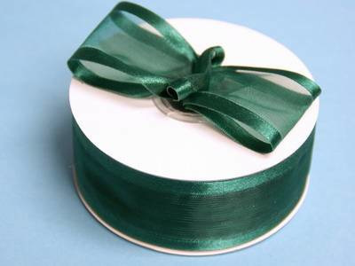 Hunter green organza ribbon with a satin edge