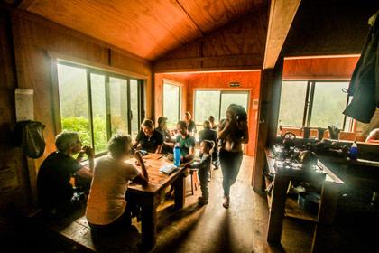 hut interior specimen point hut nz old ghost road