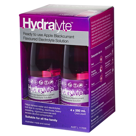 Hydralyte Liquid Apple Blackcurrant 4 X 250ml