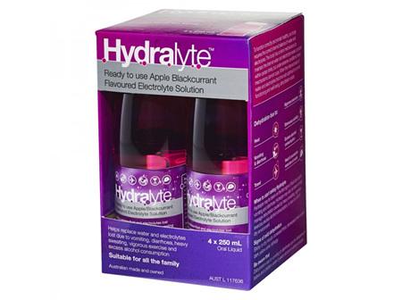Hydralyte Liquid Apple Blackcurrant 4 X 250ml