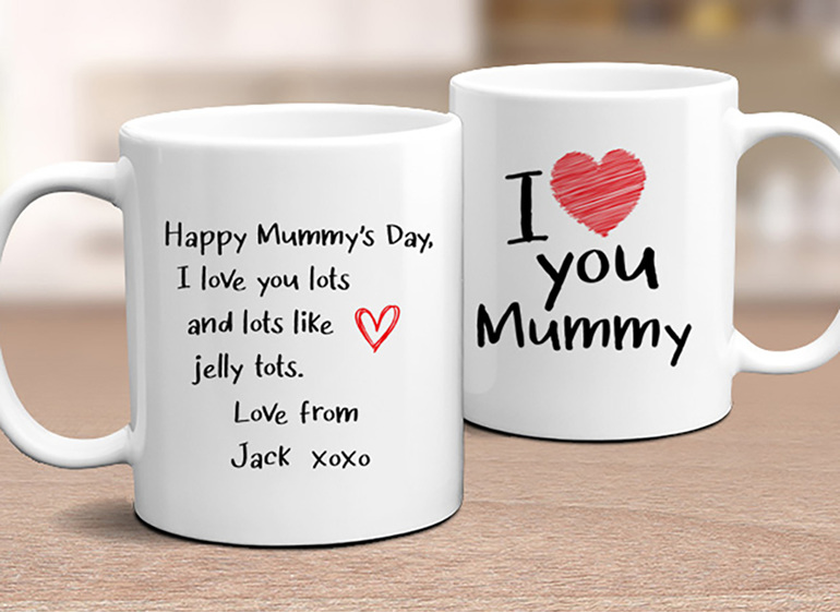 I love Mummy with personal message on the back of personalised mug
