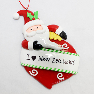 I  love NZ Santa Clay Tree Decoration