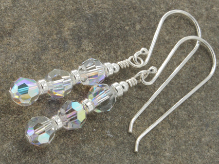 'Ice' earrings - Three stacked 6mm Swarovski Crystals in crystal AB