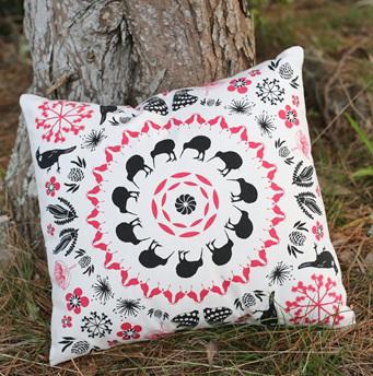 Iconic New Zealand design on Stone coloured fabric.