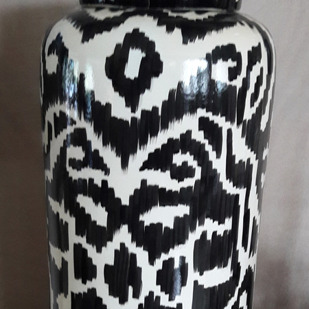 Ikat Canister Black and White - $195