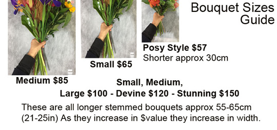 Image showing sizes of bouquets available