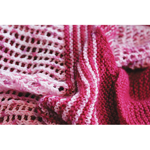 image shows a close up image of bright pink and pale pink knitted scarf